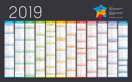 Year 2019 colorful calendar, in French language, on black background. Vector template
