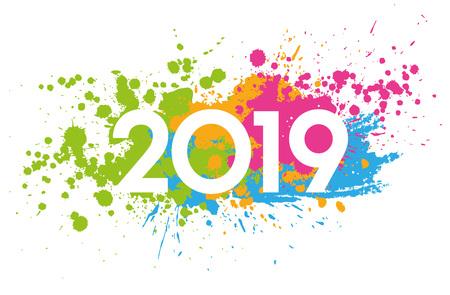 Date du nouvel an 2019 peinte avec des taches colorées