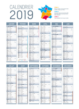 Year 2019 calendar, in French language, on white background. Vector template