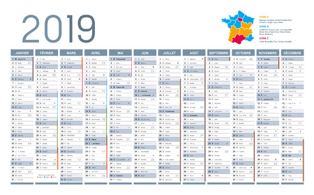 Year 2019 calendar, in French language, on white background. Vector template Ilustrace