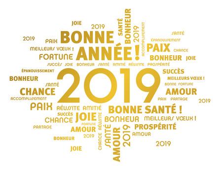 Saludo de oro palabras en francés alrededor de la fecha de año nuevo 2019, aislado en blanco