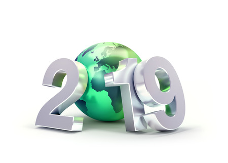 2019 New Year date number composed with a green planet earth, focused on Europe and Africa, isolated on white - 3D illustration Stock fotó