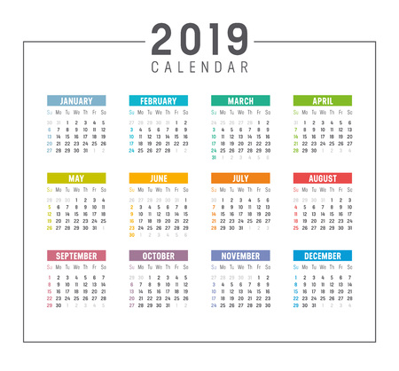 Colorful year 2019 simple calendar. Vector template on white background