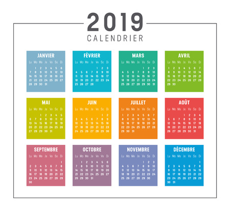 Year 2019 colorful simple calendar, in French language, on white background. Week start monday. Vector template