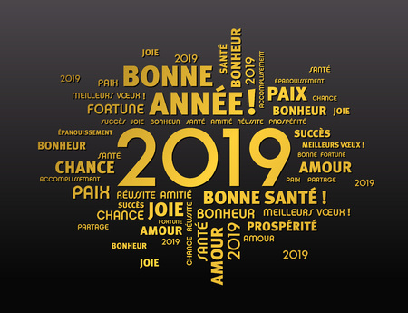 Gold greeting French words around New Year date 2019, isolated on black background Ilustrace