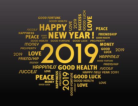 Parole di saluto d'oro intorno alla data di Capodanno 2019, isolate su sfondo nero