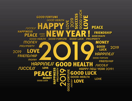 Gold greeting words around New Year date 2019, isolated on black background