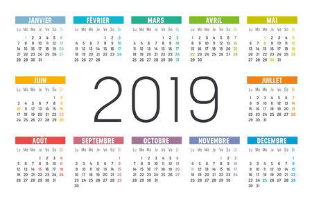 Year 2019 minimalist colorful calendar, in French language, on white background.