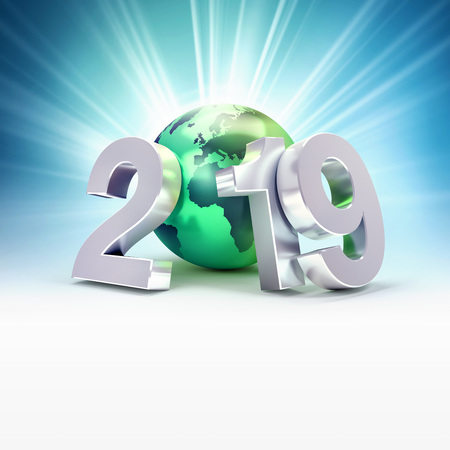 2019 New Year date number composed with a green planet earth, focused on Europe and Africa, light rays behind - 3D illustration