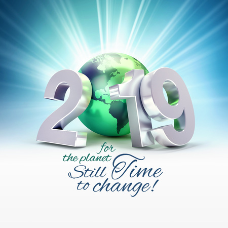 Ecological greeting card - 2019 New Year date number composed with a green planet earth, light rays behind - 3D illustration