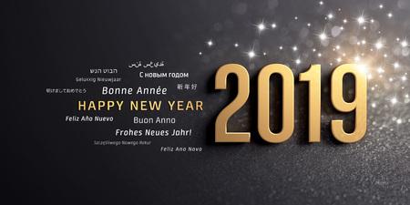 Anno nuovo anno 2019 colorato in oro e parole di saluto in più lingue, su uno sfondo nero scintillante - illustrazione 3D Archivio Fotografico