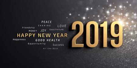 Frohe Neujahrsgrüße und Datumsnummer 2019, goldfarben, auf festlichem schwarzem Hintergrund, mit Glitzer und Sternen - 3D-Darstellung