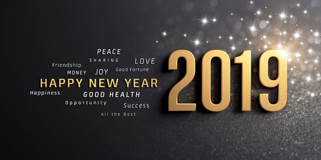 Happy New Year greetings and 2019 date number, colored in gold, on a festive black background, with glitters and stars - 3D illustration Stock Photo