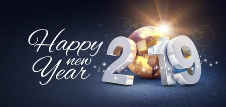 Auguri di buon anno e data d'argento 2019 composta da un pianeta terra d'oro, scintillante su uno sfondo nero - illustrazione 3D Archivio Fotografico
