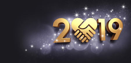 New Year date 2019 cololored in gold, composed with a golden heart, glittering on a black background - 3D illustration