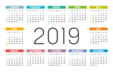Year 2019 minimalist colorful calendar, on white background.