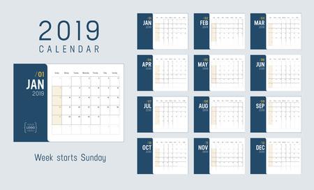 Year 2019 calendar, weeks start Sunday - Vector template. 일러스트