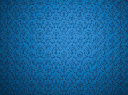Blue damask wallpaper with floral patterns