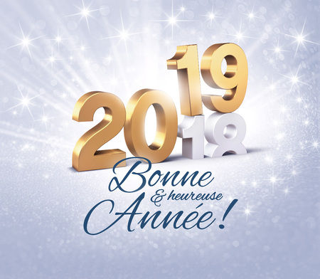 New Year date number 2019 colored in gold and greetings in French, above ending year 2018, on a glittering silver background - 3D illustration