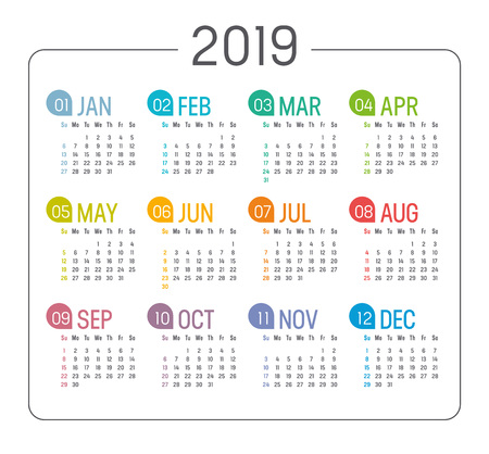 Colorful Year 2019 minimalist calendar, on white background. Vector template