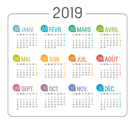 Colorful Year 2019 minimalist calendar, in French language, on white background. Vector template Ilustrace