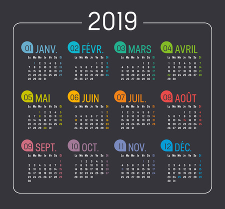Colorful Year 2019 minimalist calendar, in French language, on black background. Vector template