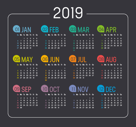 Colorful Year 2019 minimalist calendar, on black background. Vector template