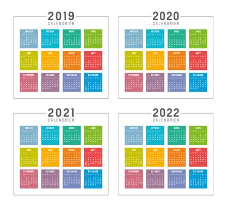 Ensemble de calendriers colorés minimalistes en langue française, années 2019 2020 2021 2022, les semaines commencent lundi, sur fond blanc - modèles vectoriels.