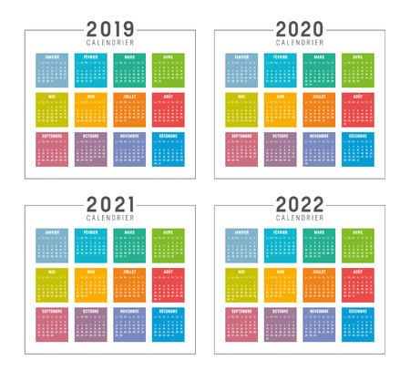 Set of minimalist colorful calendars in French language, years 2019 2020 2021 2022, weeks start Monday, on white background - Vector templates. Vettoriali