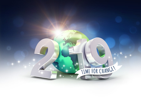 Ecological greeting card - 2019 New Year date number composed with a green planet earth, focused on Europe and Africa, sun shining behind - 3D illustration Stock fotó