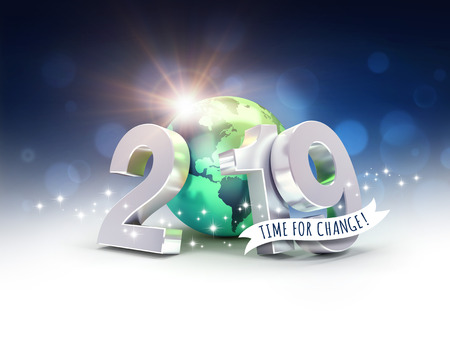 Ecological greeting card - 2019 New Year date number composed with a green planet earth, focused on America, sun shining behind - 3D illustration