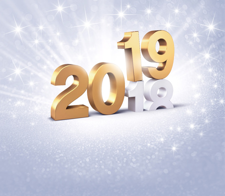 New Year date number 2019 colored in gold, above ending year 2018, on a glittering silver background - 3D illustration