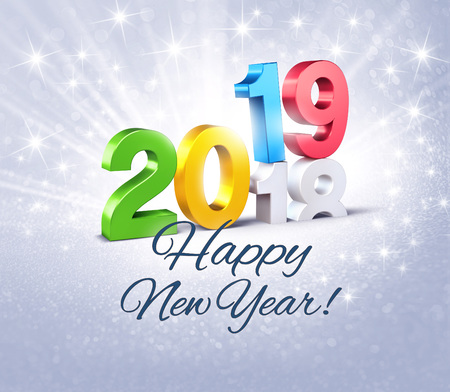 Colorful New Year date number 2019 and happy greetings, above ending year 2018, on a glittering silver background - 3D illustration