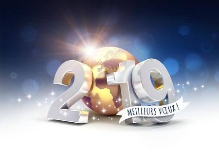 Auguri di buon anno in francese e data d'argento 2019 composta da un pianeta terra d'oro, su uno sfondo scintillante - illustrazione 3D Archivio Fotografico