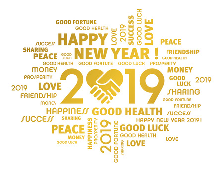 Gold greeting words around New Year date 2019, composed with a handshake heart symbol, isolated on white