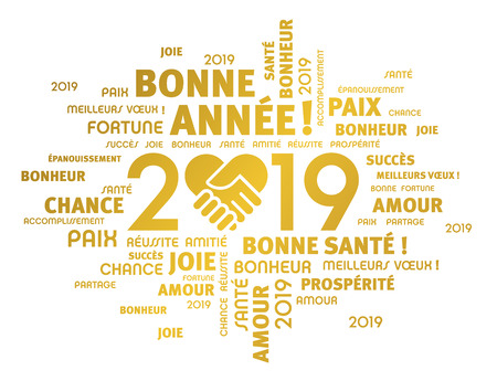 Gold greeting words in French around New Year date 2019, composed with a handshake heart symbol, isolated on white