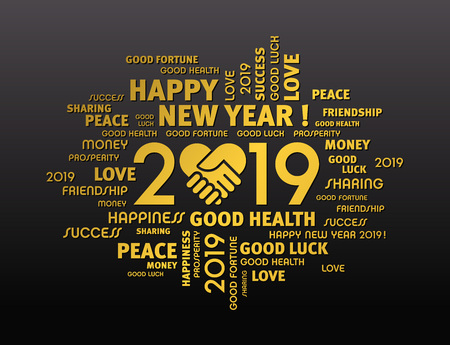 Gold greeting words around New Year date 2019, composed with a handshake heart symbol, on black background Ilustrace
