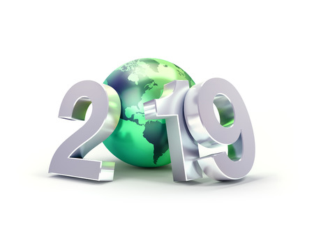 2019 New Year date number composed with a green planet earth, focused on America, isolated on white - 3D illustration Stock fotó