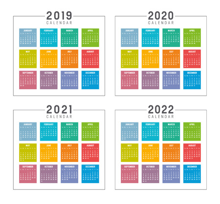Set of minimalist colorful calendars, years 2019 2020 2021 2022, weeks start Sunday, on white background - Vector templates.