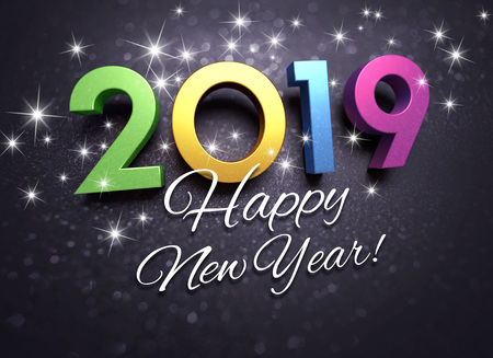 happy new year greetings and 2019 colorful date number on a festive black background