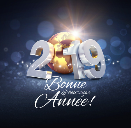 Happy New Year greeting in French language and silver date 2019 composed with a gold planet earth, glittering on a black background - 3D illustration Stockfoto