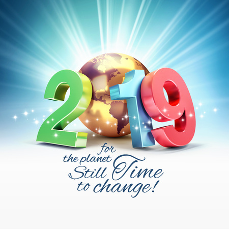 Ecological greeting card - 2019 New Year colorful date number composed with a gold planet earth, light rays behind - 3D illustration Stock fotó