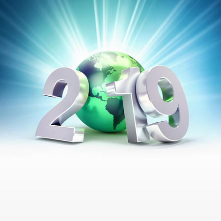 2019 New Year date number composed with a green planet earth, focused on America, light rays behind - 3D illustration Stock fotó