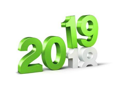 Green New Year date number 2019 above 2018, isolated on white - 3D illustration Reklamní fotografie