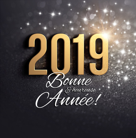 Happy New Year 2019 date number colored in gold, greetings in French language, on a festive black background with glitters and stars - 3D illustration