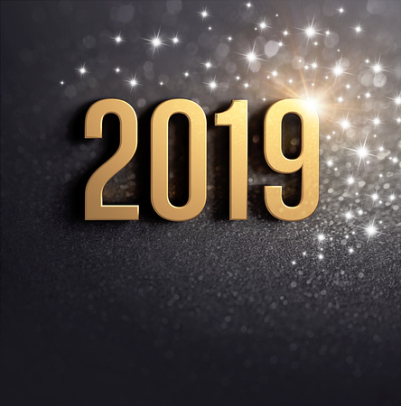 New Year 2019 date number colored in gold, on a festive black background, with glitters and stars - 3D illustration