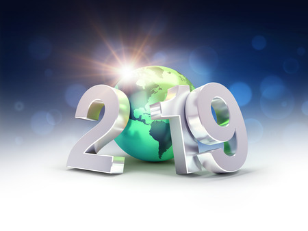 2019 New Year silver date number composed with a green planet earth, focused on America, sun shining behind - 3D illustration Reklamní fotografie