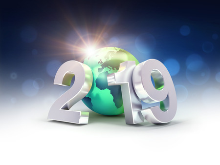 2019 New Year silver date number composed with a green planet earth, focused on Europe and Africa, sun shining behind - 3D illustration Reklamní fotografie