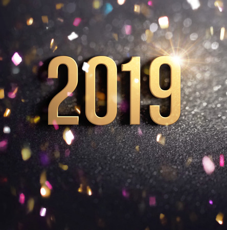 Happy New Year 2019 date number colored in gold, on a festive black background, with glitters and confetti - 3D illustration