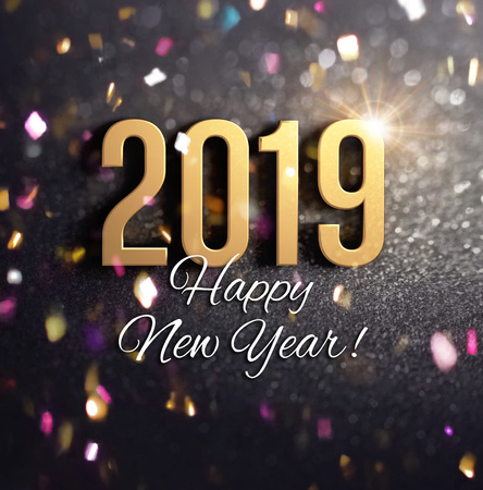 Happy New Year greetings and 2019 date number colored in gold, on a festive black background, with glitters and confetti - 3D illustration